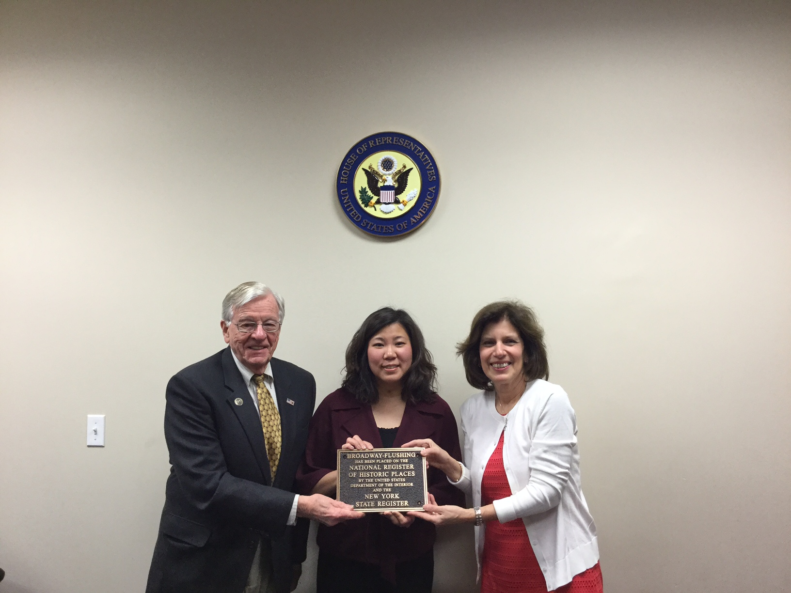 representative grace meng receives plaque from BFHA