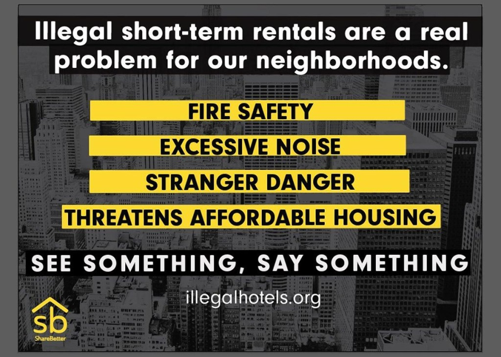 Using a compilation of tracking data, the coalition intends to focus the digital ads on internet addresses in neighborhoods with high concentrations of suspected Airbnb use, including Williamsburg, the East Village, Bedford-Stuyvesant, and the Upper West Side. (SHAREBETTER)